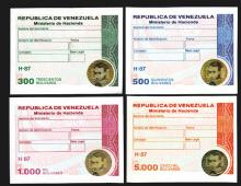 Tax Paid Adhesive Revenue Stamps with holograms from Venezuela.