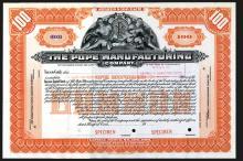 Pope Manufacturing Co., ca.1909 Specimen Stock Certificate.