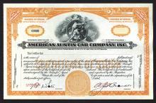 American Austin Car Co., ND (ca.1920-40) Specimen Stock Certificate.