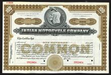 Indian Motorcycle Company Specimen Shares. CA 1910.