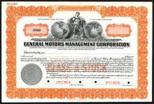 General Motors Management Corp., 1930 Specimen Stock Certificate.