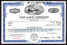 Gates Learjet Corp., 1966 Specimen Bond.