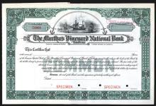 Martha's Vineyard National Bank of Tisbury Specimen Shares. CA 1900s.