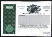 Bear Sterns Companies Inc., 1985 Proof Stock Certificate.