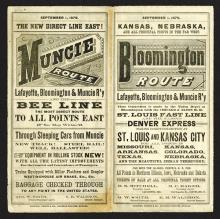 Lafayette, Bloomington & Muncie Railway. Timetable Sept, 1, 1879. 16 pages folded, route map. Slight pencil marks, paper loss, small edge tear; all mentioned for accuracy.