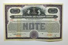 American Telephone and Telegraph Co., 1919 Specimen Bond.
