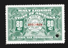 Arizona State Liquor Stamp Specimens.