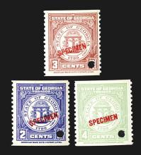 Georgia State Tobacco Stamp Specimens.