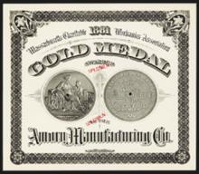 Amory Manufacturing Co. Gold Medal Specimen Certificate.