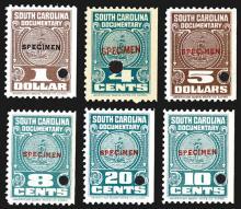 South Carolina Documentary Stamp Specimens.