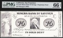 San Francisco, California, 18xx (originally printed in 1840-50's, this note is ca.1960-70's), 75 cents Payable in Gold Dust, Unlisted in Haxby, Modern