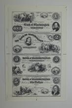 Bank of Bloomington Uncut Sheet of 4 Proprietary Proofs.