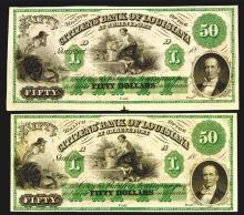 Citizens' Bank of Louisiana, 18xx (ca.1850-60's) Obsolete Banknote Pair.