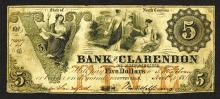 Bank of Clarendon at Fayetteville, 1855 Obsolete Banknote.