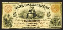 Bank of Lexington, 1859 Obsolete Banknote.