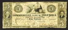 Commercial Bank of Columbia, 1855 Obsolete Banknote.