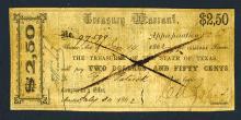 Treasurer of the State of Texas 1862 Treasury Warrant.