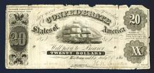 Confederate States of America, 1861, T-8 Issue Banknote.