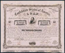 Confederate States of America 1863 Issued Bond.