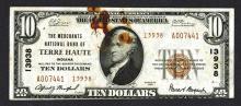 National Currency, IN. Merchants National Bank of Terre Haute.