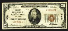 First National Bank of Glen Falls, NY, $20, 1929 1st Issue, CH# 980, Low Serial # C000082A.