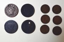Large Cents: 1819 (holed), 1820, 1842, 1843, 1847 (holed), 1855 plus another with a well worn date; Small Cents, Indian head: 1900-1909. Generally Good-Very Good, some dug, holed or otherwise damaged. 107 pieces.