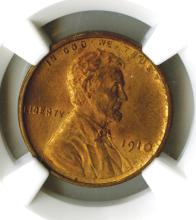 Lincoln Cent, 1910, NGC MS63 RB
