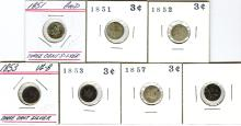 3 cent Silver group, 7 pieces.
