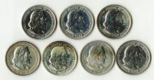 Columbian Expo Half Dollar, All brightly polished. 7 pieces.