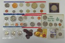Modern Uncirculated Sets, hard times token and for medals. Just over 60 pieces