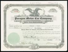 Paragon Motor Car Co. Issued Stock.