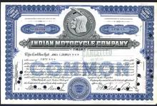 Indian Motorcycle Co.,  Stock Certificate.