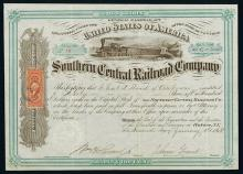 Southern Central Railroad Co., Issued Stock.