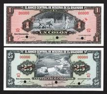 Banco Central de Reserva de el Salvador. 1957, 1958 Issues