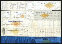 Variety of bank checks with printed revenue stamps.