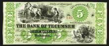 Bank of Tecumseh. 5 Dollars. 1859.