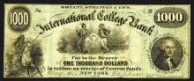 Bryant, Stratton & Co.'s International College Bank. 1000 Dollars. 1866.