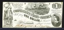 Confederate States. 1 Dollar. 1862.