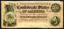 Confederate States. 500 Dollars. 1864.