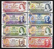 Bank of Canada. 1970s Denomination Set.