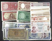 Republica de Chile, 1907-1970's Banknote Assortment.