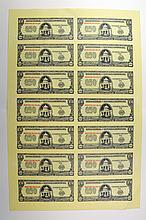Banco Central de la Republica Dominicana. 1961 Issue Uncut Sheet