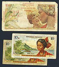 Republique Francaise, Departement de la Guyane, Martinique and Guadeloupe.