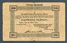 Deutsch-Ostafrikanische Bank. 1915 Emergency Issue.