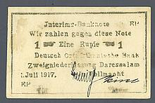 Deutsch-Ostafrikanische Bank. 1917 Emergency Issue.