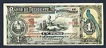 Banco de Occidente. 1899 Issue.
