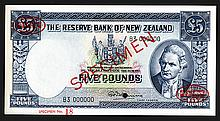 Reserve Bank of New Zealand. Ca.1953-58, 5 Pounds. Specimen.