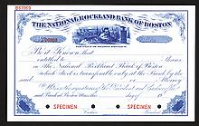 National Rockland Bank of Boston Specimen Share Certificate. Ca. 1910-1920s with Charming Santa Claus Vignette.