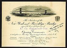 New York & Brooklyn Bridge opening invitation, 1883.