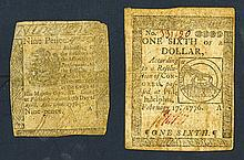 Pennsylvania Colony and Continental Currency, 1776.